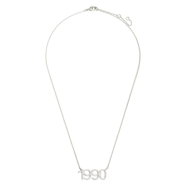 """White Gold Dipped 1990 Birth Year Necklace Featuring CZ Accents.  - White Gold Dipped - Adjustable Lengths: 15.5"""", 16.5"""", and 17.5"""""""