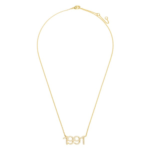 """Gold Dipped 1991 Birth Year Necklace Featuring CZ Accents.  - Gold Dipped - Adjustable Lengths: 15.5"""", 16.5"""", and 17.5"""""""