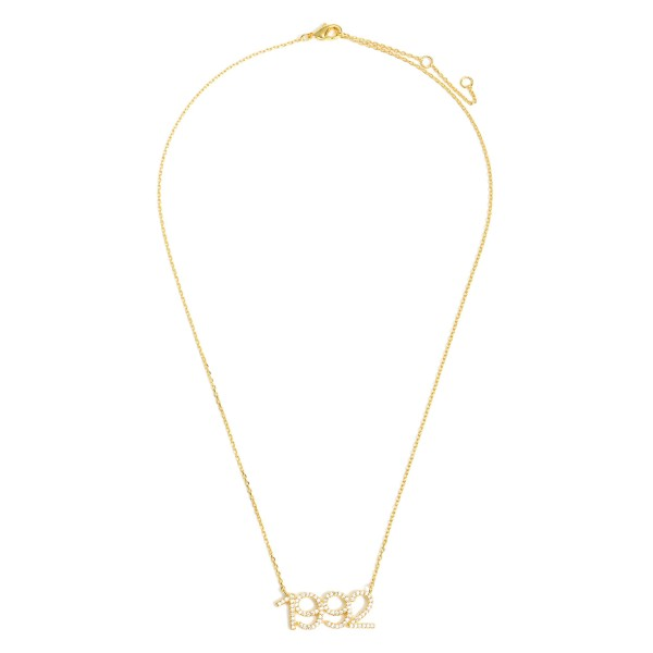 """Gold Dipped 1992 Birth Year Necklace Featuring CZ Accents.  - Gold Dipped - Adjustable Lengths: 15.5"""", 16.5"""", and 17.5"""""""