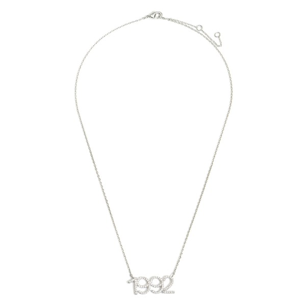 """White Gold Dipped 1992 Birth Year Necklace Featuring CZ Accents.  - White Gold Dipped - Adjustable Lengths: 15.5"""", 16.5"""", and 17.5"""""""