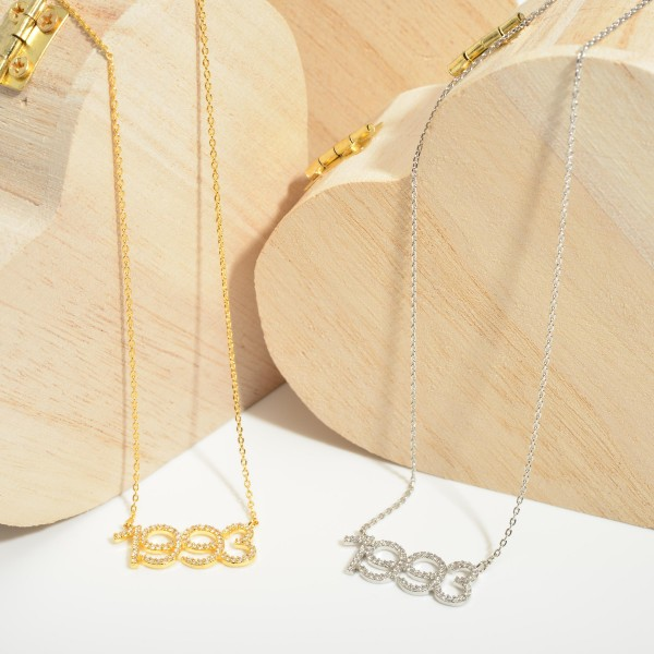 """Gold Dipped 1993 Birth Year Necklace Featuring CZ Accents.  - Gold Dipped - Adjustable Lengths: 15.5"""", 16.5"""", and 17.5"""""""