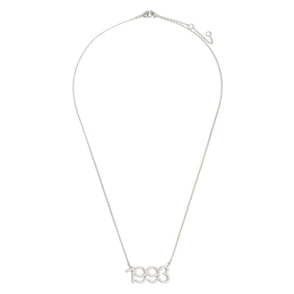 """White Gold Dipped 1993 Birth Year Necklace Featuring CZ Accents.  - White Gold Dipped - Adjustable Lengths: 15.5"""", 16.5"""", and 17.5"""""""