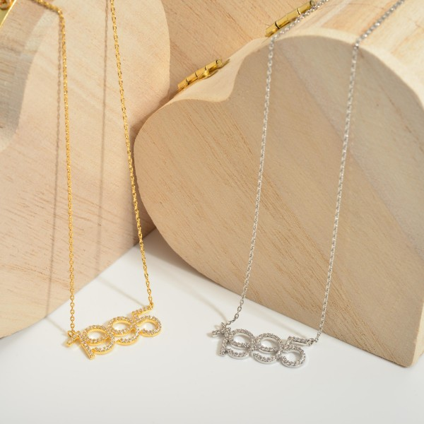 """Gold Dipped 1995 Birth Year Necklace Featuring CZ Accents.  - Gold Dipped - Adjustable Lengths: 15.5"""", 16.5"""", and 17.5"""""""