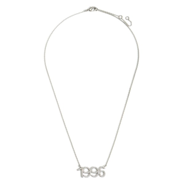 """White Gold Dipped 1996 Birth Year Necklace Featuring CZ Accents.  - White Gold Dipped - Adjustable Lengths: 15.5"""", 16.5"""", and 17.5"""""""