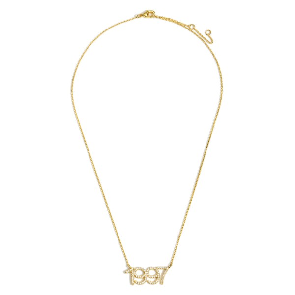 """Gold Dipped 1997 Birth Year Necklace Featuring CZ Accents.  - Gold Dipped - Adjustable Lengths: 15.5"""", 16.5"""", and 17.5"""""""
