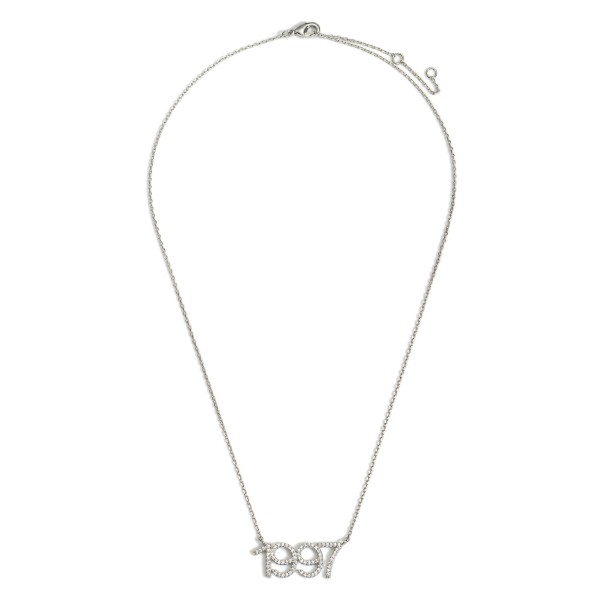 """White Gold Dipped 1997 Birth Year Necklace Featuring CZ Accents.  - White Gold Dipped - Adjustable Lengths: 15.5"""", 16.5"""", and 17.5"""""""