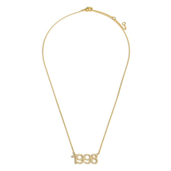"""Gold Dipped 1998 Birth Year Necklace Featuring CZ Accents.  - Gold Dipped - Adjustable Lengths: 15.5"""", 16.5"""", and 17.5"""""""