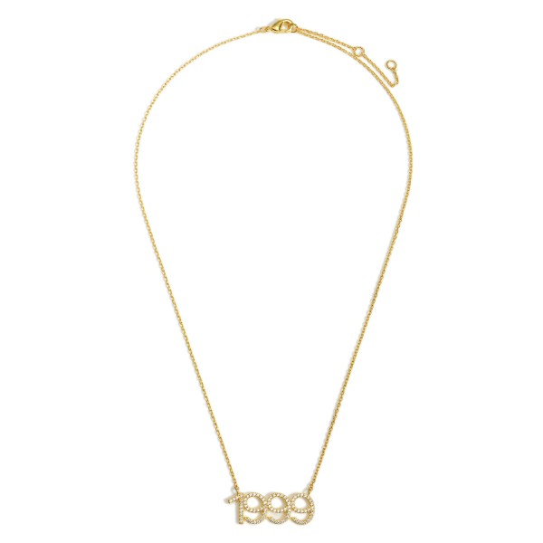 """Gold Dipped 1999 Birth Year Necklace Featuring CZ Accents.  - Gold Dipped - Adjustable Lengths: 15.5"""", 16.5"""", and 17.5"""""""