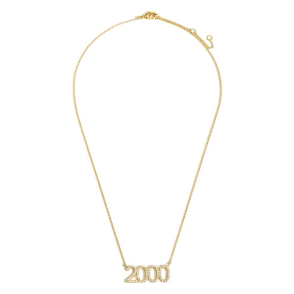 """Gold Dipped 2000 Birth Year Necklace Featuring CZ Accents.  - Gold Dipped - Adjustable Lengths: 15.5"""", 16.5"""", and 17.5"""""""
