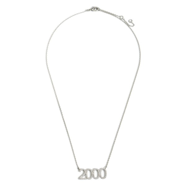 """White Gold Dipped 2000 Birth Year Necklace Featuring CZ Accents.  - White Gold Dipped - Adjustable Lengths: 15.5"""", 16.5"""", and 17.5"""""""