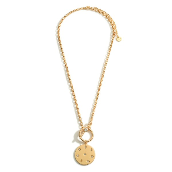 """Chain Link Necklace Featuring Toggle Closure and Pendant with Celestial Accents.   - Approximately 18"""" Long"""