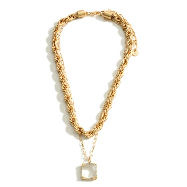 """Layered Chain Link Necklace Featuring Clear Crystal Pendant.   - Approximately 18"""" Long"""