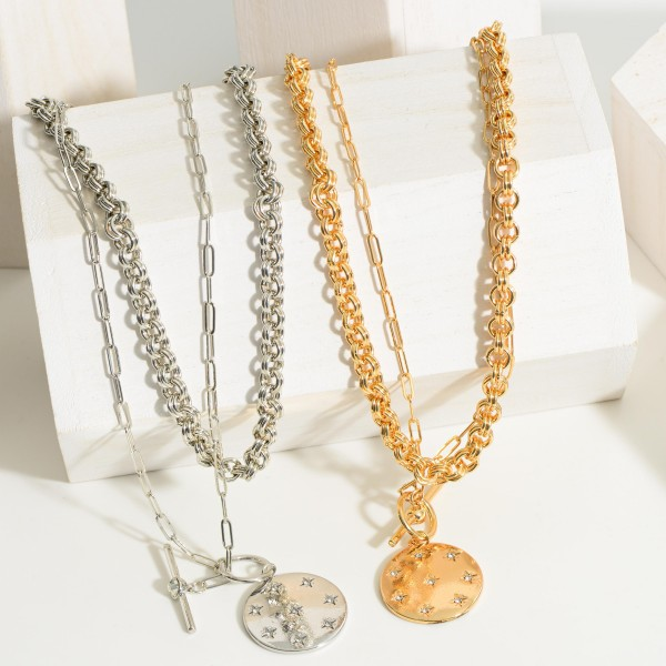 """Layered Chain Link Necklace Featuring Toggle Closure and Pendant with Celestial Accents.   - Approximately 18"""" Long"""