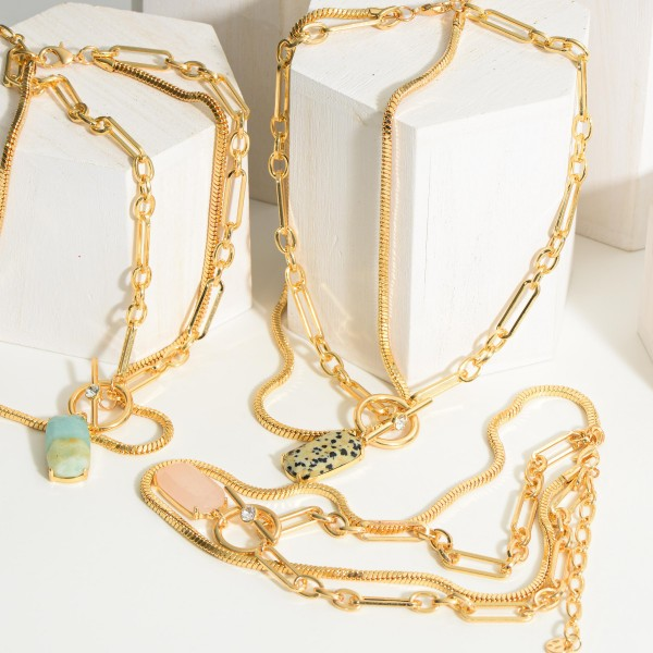 """Layered Chain Link Necklace Featuring Natural Stone Pendant.   - Approximately 8.5"""" Long"""