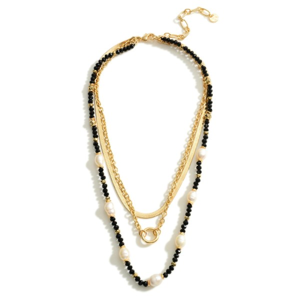 """Layered Chain Link Necklace Featuring Beaded Accents and Faux Pearl Details.   - Approximately 18"""" Long"""