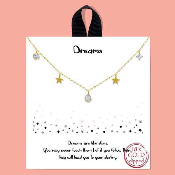 """Short Metal Necklace Featuring Star Accents and CZ Details.   - Approximately 18"""" Long"""