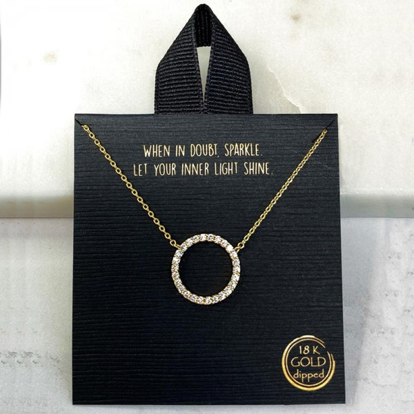 """Short Metal Necklace Featuring Pave CZ Circle Pendant.   - Approximately 18"""" Long"""