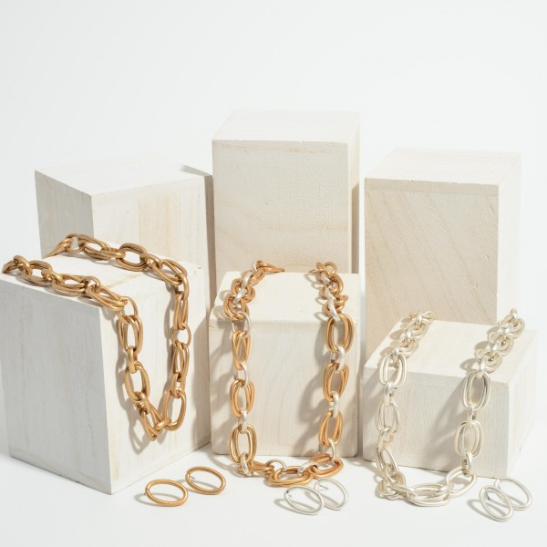 """Double-Layered Chain Link Necklace.   - Approximately 18"""" Long"""