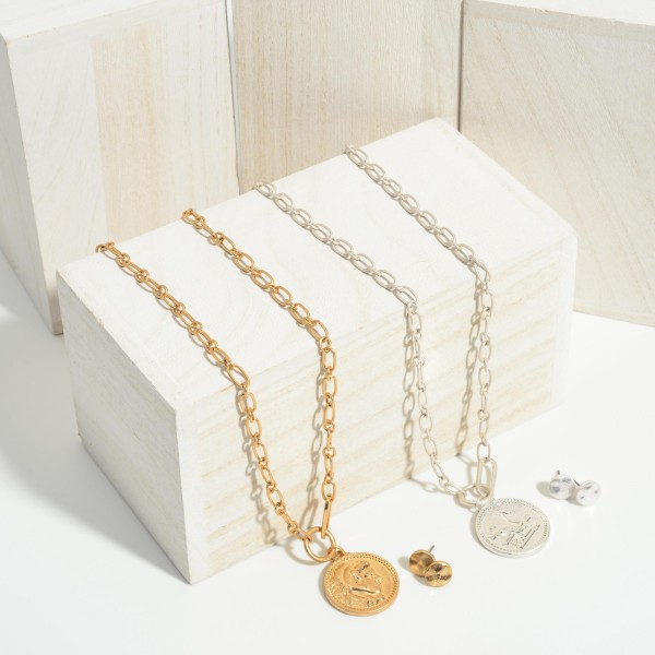 """Chain Link Necklace Featuring Coin Pendant.   - Approximately 20"""" Long"""