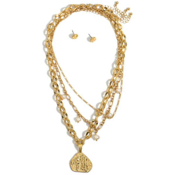 """Layered Chain Link Necklace Featuring Faux Pearl Accents and Hammered Pendant.   - Approximately 18"""" Long"""