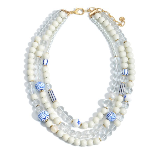 """Layered Beaded Necklace Featuring Ceramic Boho Beads and Pearl Accents.  - Approximately 10"""" in Length"""