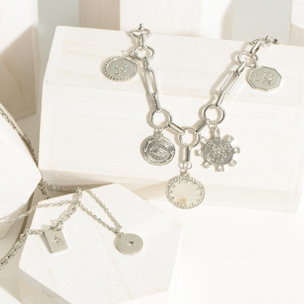 """Silver Chain Necklace Featuring Coin Accents.  - Approximately 8"""" in Length - Extender Approximately 3"""" in Length"""