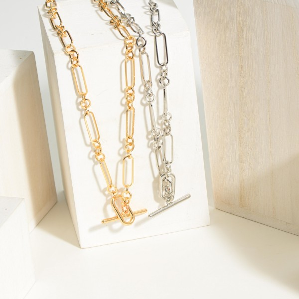 """Chain Link Necklace Featuring a Toggle Bar Closure.  - Approximately 8.5"""" in Length"""