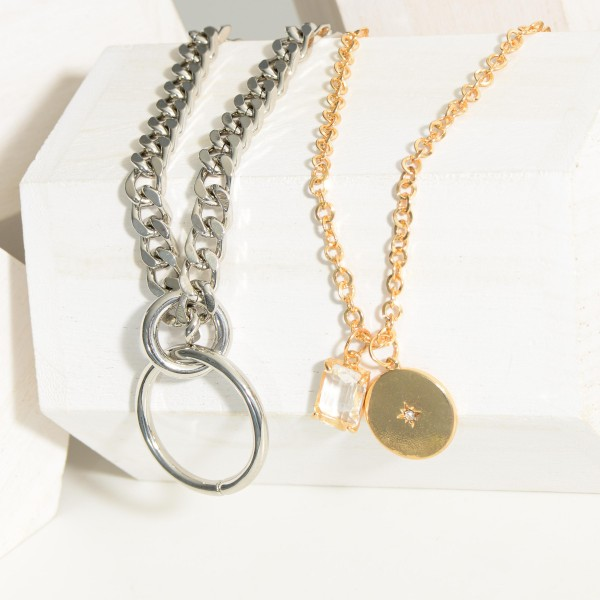 """Silver Chain Necklace Featuring a Simple Ring Pendant.  - Approximately 8"""" in Length"""