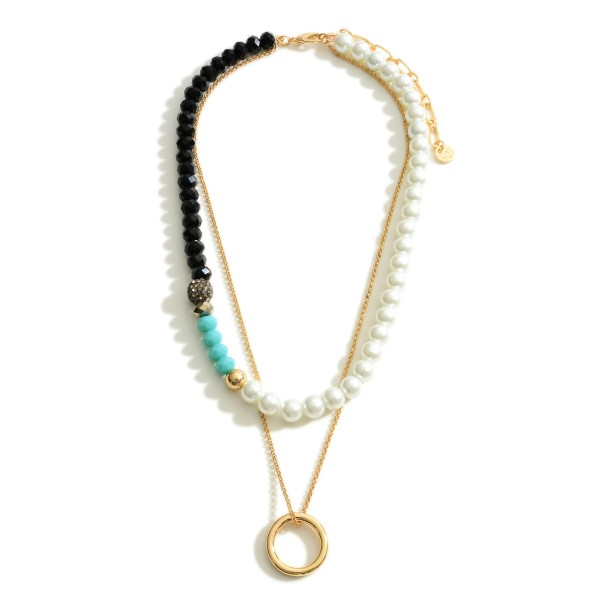 """Layered Beaded Necklace Featuring Pearl and Gold Accents.  - Approximately 8.75"""" in Length - Extender Approximately 3"""" in Length"""