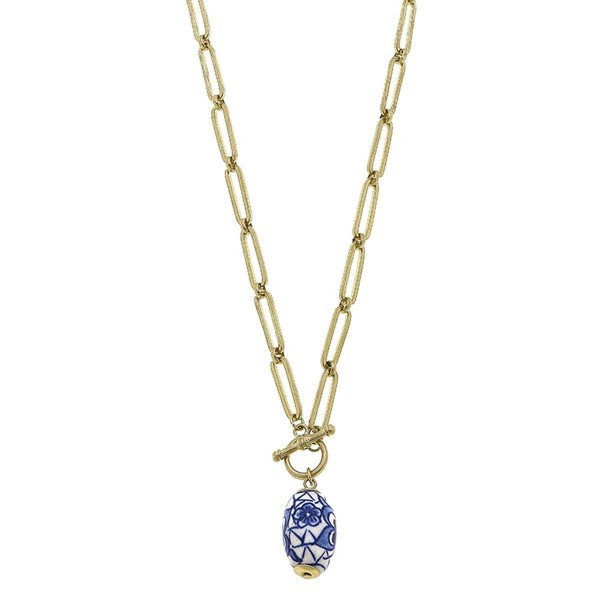 """Gold Chain Necklace Featuring Mediterranean Bead Pendant.  - Approximately 12"""" in Length - Toggle Bar Closure"""