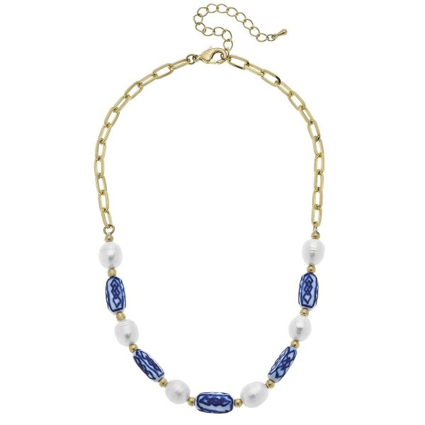 """Gold Chain Necklace Featuring Mediterranean Beaded Accents.  - Approximately 7.5"""" in Length - Extender Approximately 3"""" in Length"""