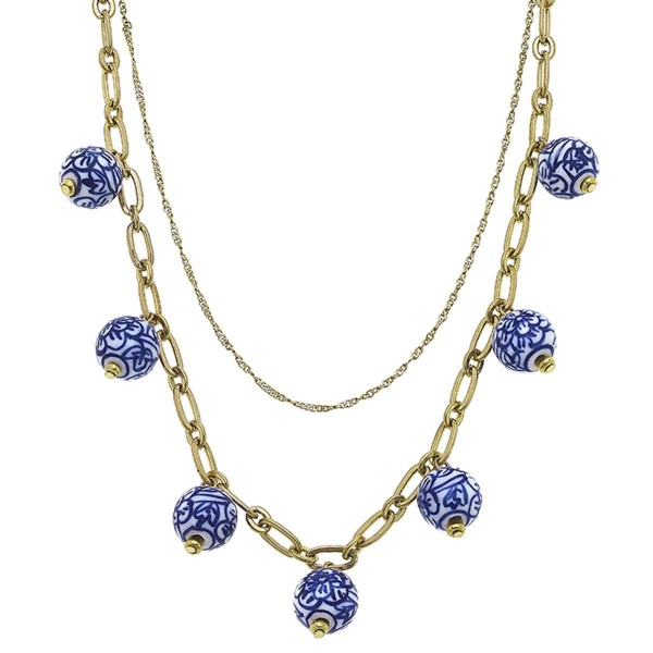 """Gold Layered Chain Necklace Featuring Mediterranean Beaded Accents.  - Approximately 8"""" in Length - Extender Approximately 3"""" in Length"""