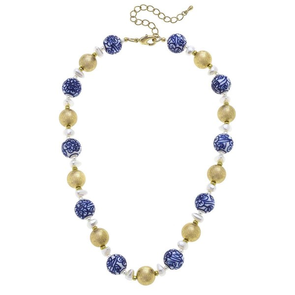 """Gold Beaded Necklace Featuring Mediterranean Beaded Accents.  - Approximately 7.5"""" in Length - Extender Approximately 3"""" in Length"""