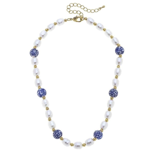 """Pearl Necklace Featuring Mediterranean Beaded Accents.  - Approximately 8"""" in Length - Extender Approximately 3"""" in Length"""