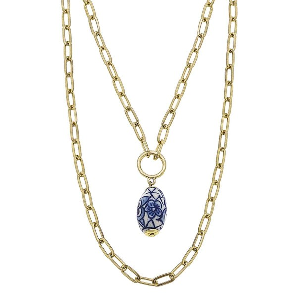 """Gold Layered Chain Necklace Featuring Mediterranean Bead Pendant.  - Approximately 12"""" in Length - Extender Approximately 3"""" in Length"""