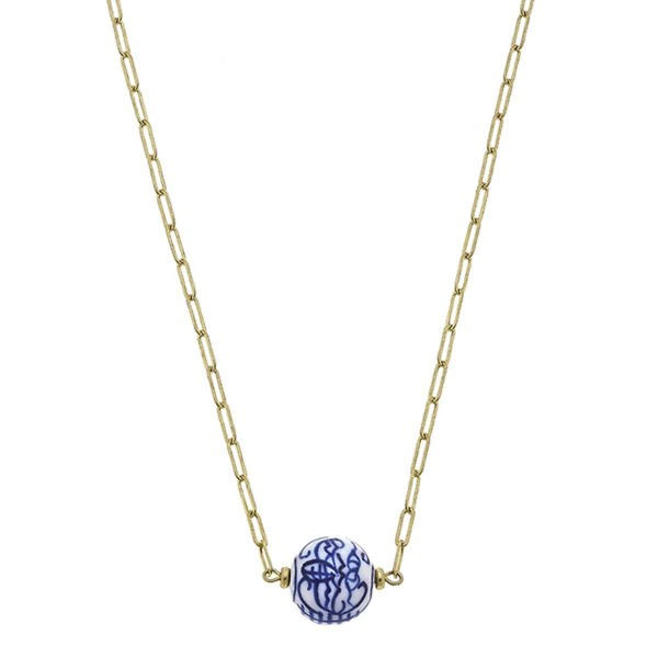"""Gold Chain Necklace Featuring Chinoiserie Bead Pendant.  - Approximately 10"""" in Length - Toggle Bar Closure"""