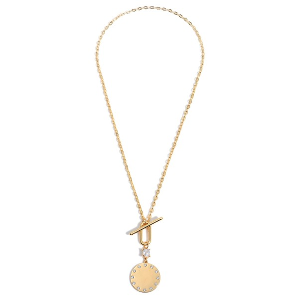 """Short Chain Link Necklace Featuring CZ Studded Pendant and a Toggle Bar Closure.  - Approximately 11"""" in Length - Toggle Bar Closure"""