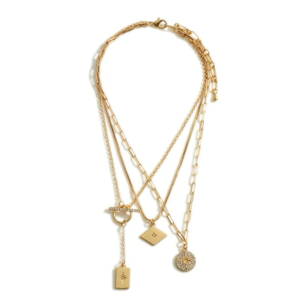 """Layered Metal Chain Necklace Featuring Starburst Pendants and CZ Accents.  - Approximately 8"""" in Length - Extender Approximately 3"""" in Length"""