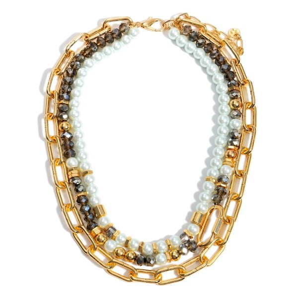 """Layered Chain Link Necklace Featuring Pearl  and Beaded Accents.  - Approximately 9"""" in Length"""