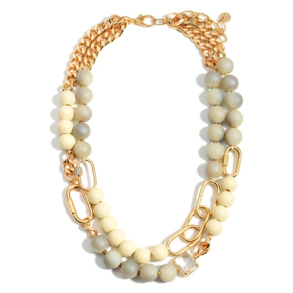 """Wood Beaded Layered Necklace Featuring Gold Chain Accents.  - Approximately 8"""" in Length - Extender Approximately 3"""" in Length"""