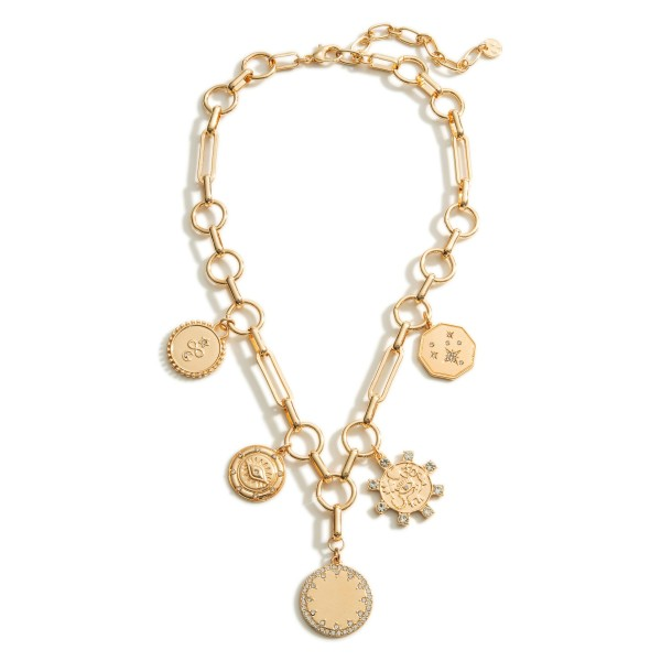 """Gold Chain Necklace Featuring Coin Accents.  - Approximately 8"""" in Length - Extender Approximately 3"""" in Length"""