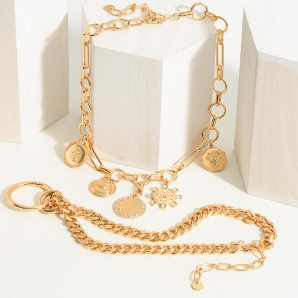 """Gold Chain Necklace Featuring a Simple Ring Pendant.  - Approximately 8"""" in Length - Extender Approximately 3"""" in Length"""