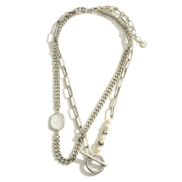 """Layered Chain Link Necklace Featuring Pearl Accents and a Toggle Bar Closure.  - Approximately 8"""" in Length"""