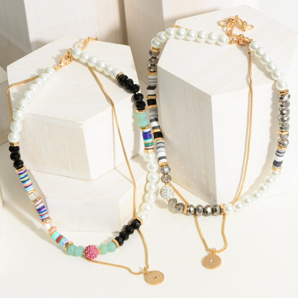 """Heishi Bead Layered Necklace Featuring Pearl Accents.  - Approximately 8"""" in Length"""