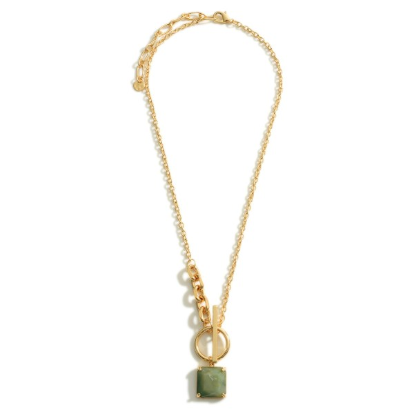 """Gold Chain Necklace Featuring a Crystal Pendant and Toggle Bar Closure.  - Approximately 9.5"""" in Length"""