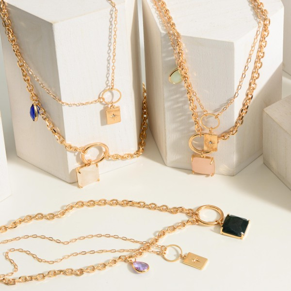 """Layered Chain Necklace featuring Crystal Pendants.  - Approximately 9.75"""" in Length"""