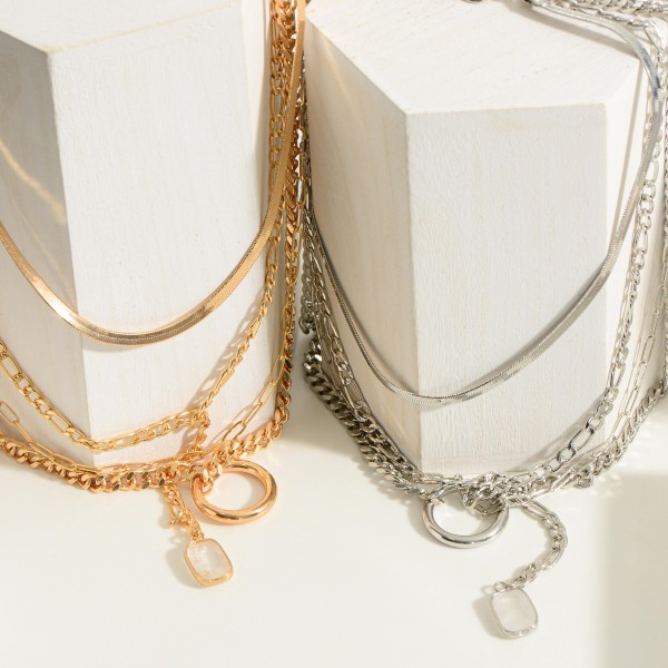 """Layered Chain Link Necklace Featuring Crystal Pendant.  - Approximately 9.5"""" in Length"""