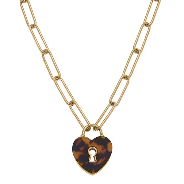 """Worn Gold Chain Necklace Featuring a Heart Shaped Tortoise Shell Pendant.  - Approximately 8"""" in Length - Extender Approximately 3"""" in Length"""