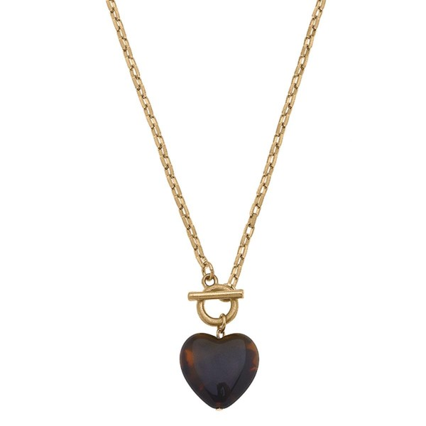 """Gold Chain Necklace Featuring a Tortoise Shell Heart Pendant and Toggle Bar Closure.  - Approximately 8"""" in Length - Toggle Bar Closure"""