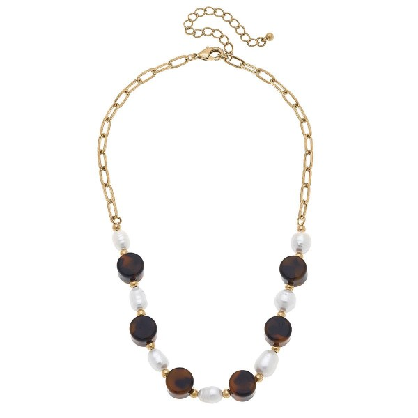"""Gold Chain Necklace Featuring Tortoise Shell Beaded Accents.  - Approximately 8"""" in Length - Extender Approximately 3"""" in Length"""